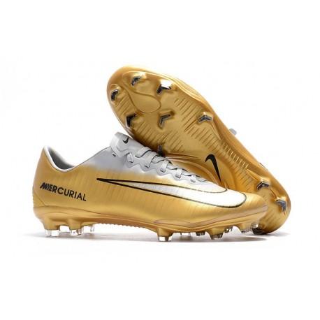 Nike Mercurial Vapor XI FG ACC Crampon Homme Or Blanc