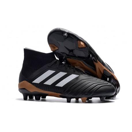 adidas Predator 18.1 FG - Chaussures de Football Adidas Noir Blanc Or