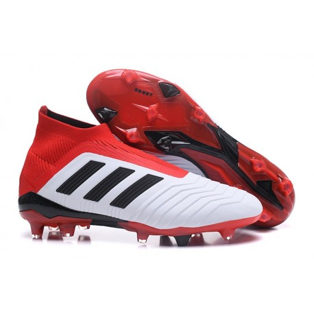 Chaussures adidas - Crampons Foot Adidas Predator 18+ FG Blanc Noir Rouge