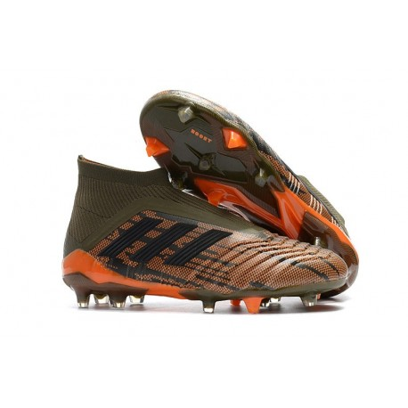 Chaussures adidas - Crampons Foot Adidas Predator 18+ FG Olive Noir Orange Vif