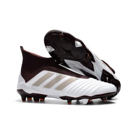 Chaussures adidas - Crampons Foot Adidas Predator 18+ FG Brun Blanc