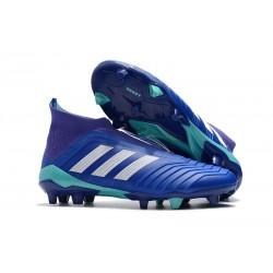 Chaussures adidas - Crampons Foot Adidas Predator 18+ FG Bleu Blanc
