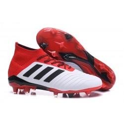adidas Predator 18.1 FG - Chaussures de Football Adidas Blanc Noir Rouge