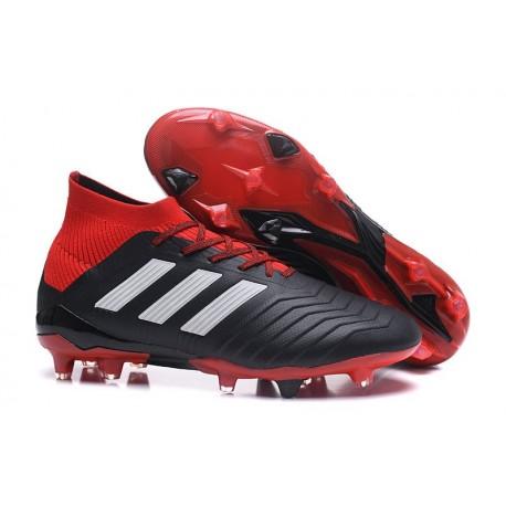 adidas Predator 18.1 FG - Chaussures de Football Adidas Noir Rouge Blanc