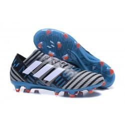 Chaussures Foot adidas - Adidas Nemeziz Messi 17.1 FG Gris Noir Bleu