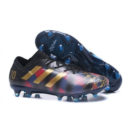 Chaussures Foot adidas - Adidas Nemeziz Messi 17.1 FG Messi Noir Or Bleu