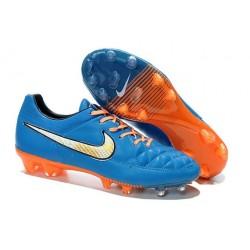 Nouveau Crampons Nike Tiempo Legend V FG Hommes Bleu Blanc Orange