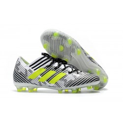 Chaussures Foot adidas - Adidas Nemeziz Messi 17.1 FG Blanc Jaune Noir