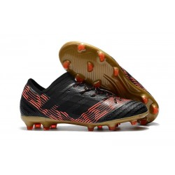 Chaussures Foot adidas - Adidas Nemeziz Messi 17.1 FG Noir Rouge Or