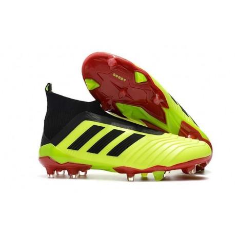 Chaussures adidas - Crampons Foot Adidas Predator 18+ FG Volt Noir Rouge