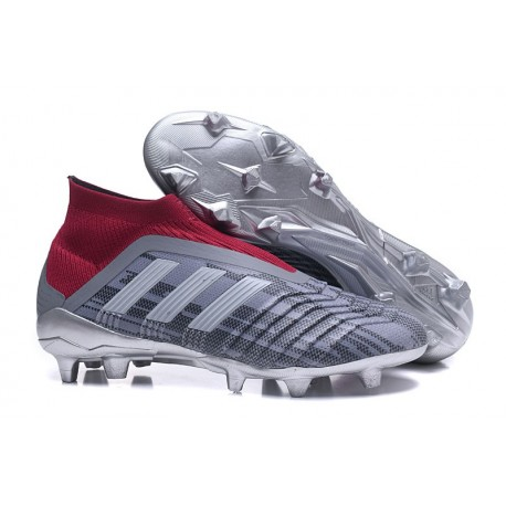 Chaussures adidas - Crampons Foot Adidas Predator 18+ FG Pogba Gris Rouge
