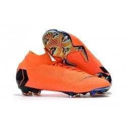 Nouvelles Chaussures de football Nike Mercurial Superfly VI 360 Elite FG Orange Noir Volt