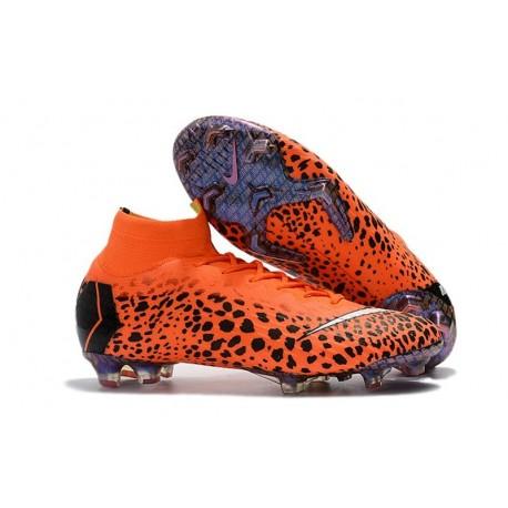 Nouvelles Chaussures de football Nike Mercurial Superfly VI 360 Elite FG CR7 Noir Orange Blanc
