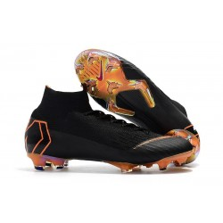Nouvelles Chaussures de football Nike Mercurial Superfly VI 360 Elite FG Noir Orange Total Blanc