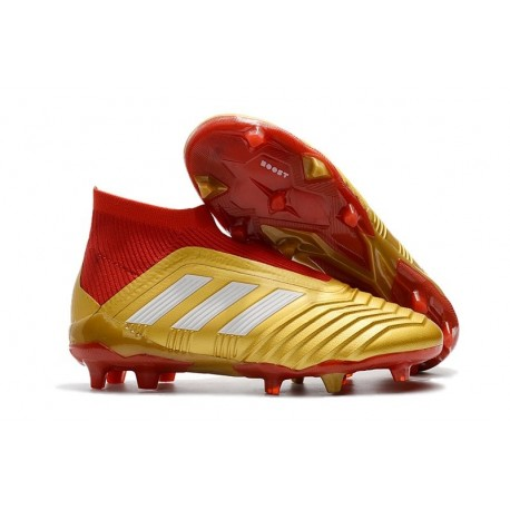 Chaussures adidas - Crampons Foot Adidas Predator 18+ FG Or Rouge Blanc
