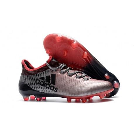Nouveau Crampons de Football - Adidas X 17.1 FG Gris Rose Noir
