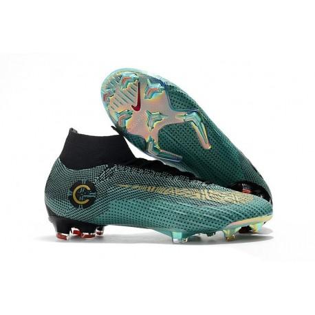 Nouvelles Chaussures de football Nike Mercurial Superfly VI Club Ronaldo FG Jade Or Vif Noir