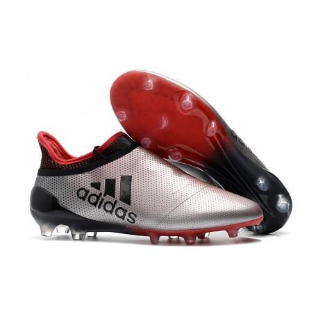 Nouvelle Crampons de Football adidas X 17+ Purespeed FG Argenté Rouge Noir