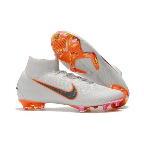 Nouvelles Chaussures de football Nike Mercurial Superfly VI 360 Elite FG Blanc Gris Métallique Orange Total