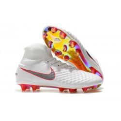 Nike Magista Obra 2 FG Nouveaux Crampons Foot Pour Hommes Blanc Gris Métallique Carmin