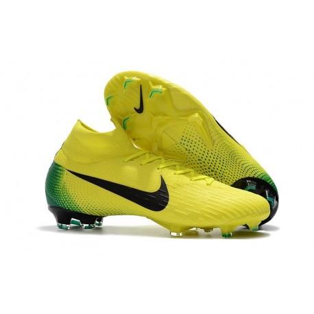 Nouvelles Chaussures de football Nike Mercurial Superfly VI 360 Elite FG Jaune Noir