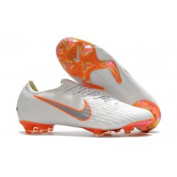Nouveau Chaussures Football Nike Mercurial Vapor XII Elite FG - Blanc Gris Métallique Orange Total