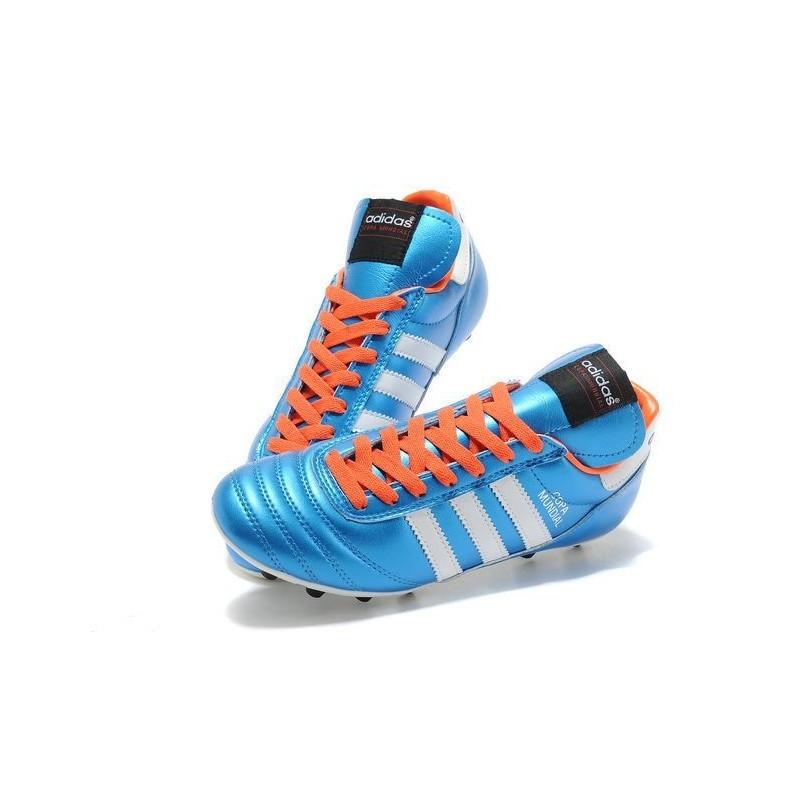 check out 01492 bfa6f Nouveau Chaussure de Football Adidas Copa Mundial FG Bleu Noir Orange