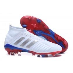adidas Predator Telstar 18.1 FG - Chaussures de Football Argent Rouge Bleu