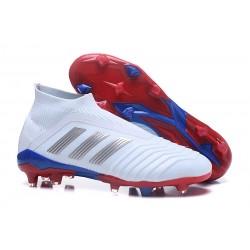 Chaussures adidas - Crampons Foot Adidas Predator Telstar 18+ FG Argent Rouge Bleu