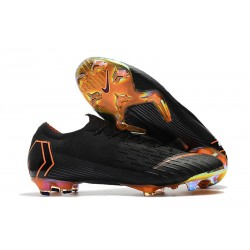 Nouveau Chaussures Football Nike Mercurial Vapor XII Elite FG - Noir Orange Total Blanc