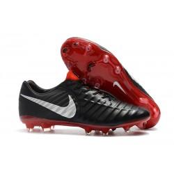 Chaussures de Football Nike pour Hommes - Nike Tiempo Legend 7 FG Noir Rouge Argent