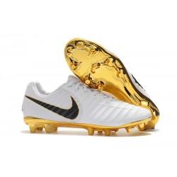Chaussures de Football Nike pour Hommes - Nike Tiempo Legend 7 FG Blanc Or Noir