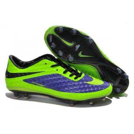 Chaussures de Football Nike Hypervenom Phantom FG Hommes Bleu Vert Noir