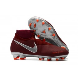 Nike Phantom Vision Elite DF FG - Chaussures de Football Vin Rouge Argent