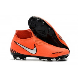 Nike Phantom Vision Elite DF FG - Chaussures de Football Rouge Noir Blanc